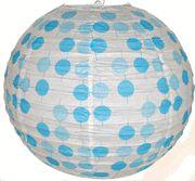 "16"" Blue Polka Dots Chinese Japanese Paper Lantern.  $1.98."