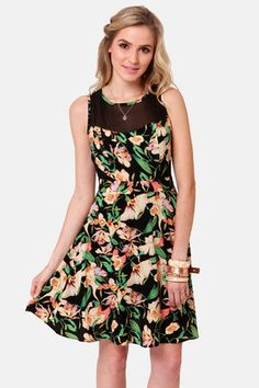 It's a Jungle Out There Black Floral Print Dress at LuLus.com!