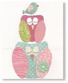 schilderij van uil en vogeltje, leuk om zelf te maken