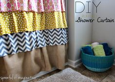 DIY Shower Curtain from Spoonful of Imagination...might have to make one of these at some point!