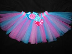 Turquoise and pink satin tutu, custom made any size Newborn-4t
