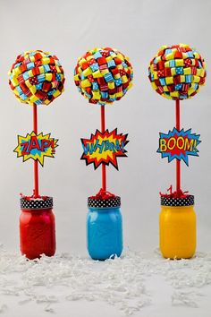 Superhero Theme Topiary Centerpiece Set of Three (3) Superhero Comic Theme Party Decorations Red Blue Yellow Black Centerpiece Party Decor
