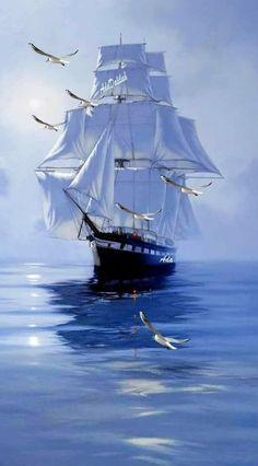 Ship Drawing, Boat Drawing, Ship Paintings, Seascape Paintings, Boat Art, Sail Away, Fishing Boats, Water Crafts, Full Sail