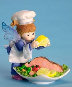 Seafood Platter Fairie - $25.49 - Nothing's better than a delicious, fresh-caught seafood feast when you're vacationing near the coast! This little pixie is putting the final touches on the meal she's just cooked up.