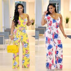 Petalsfashionz Flower Halter Jumpsuit Sexy Bodysuit Boho Print V Neck Backless Summmer Style Streeetwear Casual Rompers Rompers Women, Jumpsuits For Women, Women's Rompers, Trendy Outfits, Cool Outfits, Fashion Outfits, Womens Fashion, Beautiful Suit, Halter Jumpsuit