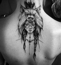 Sketch Style Woman Warrior Tattoo by Inez Janiak