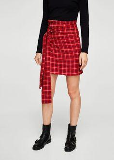Check wrap skirt | MANGO