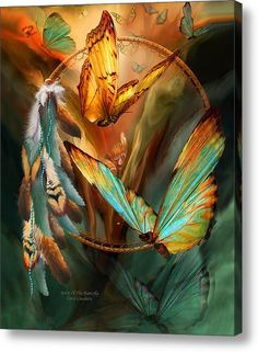 Limited Time Promotion: Dream Catcher - Spirit Of The Butterfly Stretched Canvas Print