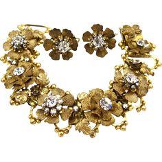 DeMario Gold Tone Flower Bracelet and Earring Set