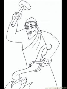 Hephaistos Coloring Page Coloring Sheets, Coloring Pages, Greek Gods, Ancient Greece, Greek Mythology, Illustration, Drawings, Drawing Tutorials, Art
