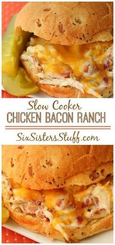 Slow Cooker Chicken Bacon Ranch Sandwich on Six Sisters Stuff | This crockpot recipe is one of our all time top pinned recipes! It's easy and perfect for a family dinner.
