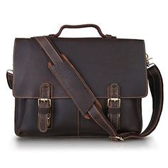 $109.99 Kattee Twin Buckle Genuine Leather Messenger Bag Medium - http://freebiefresh.com/kattee-twin-buckle-genuine-leather-messenger-review/