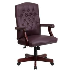 This luxurious traditional chair is available in a Burgundy Leather upholstery. Chair easily swivels 360 degrees to get the maximum use of your workspace without strain.