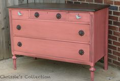 Painted furniture. Coral dresser by Chrissie's Collection. Available exclusively at The Plucky Peacock
