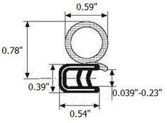 "Trim door rubber seal 20 mm 3/4"" bulb diameter X 1-4mm 1/16"" grip range X 14mm U height (250 Feet)"