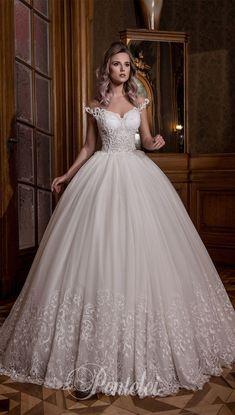 Off the shoulder sweetheart neckline embellishment ball gown wedding dress #wedding #weddingdress #weddinggown