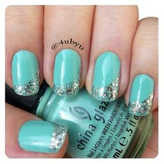 Turquoise with silver gold glitter slanted french
