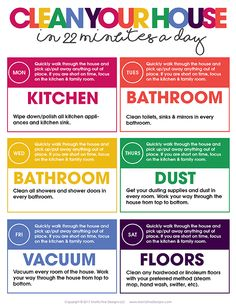 Clean your house in 22 minutes a day. Free printable A realistic cleaning schedule for working mothers, cleaning mothers realistic planning work .A realistic cleaning schedule for working mothers, cleaning mothers realistic planning workingHow to House Cleaning Checklist, Clean House Schedule, Household Cleaning Tips, Diy Cleaning Products, Cleaning Solutions, Cleaning Hacks, Cleaning Schedules, Weekly Cleaning Schedule Printable, Deep Cleaning Lists