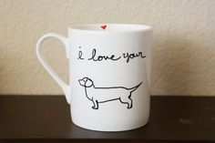 I love your Wiener Coffee Mug Valentines Day by TheCritterNest Makes the perfect naughty valentines gift!  $16.50