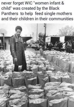 """tranqualizer: """" [photo: a black and white image of Black Panther Party leader Bobby Seale looking over bags of food to be donated to the local Black community] thanoblesavage: """" toartc: """". Black History Month, Black History Facts, Black Panther Party, Black Power, Quito, We Are The World, In This World, Sierra Leone, Bobby Seale"""