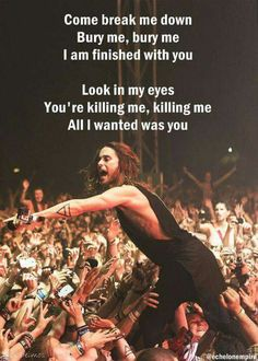 'The Kill' Lyrics by Thirty Seconds to Mars. (He's still Jordan Catalano to me - Sorry, Jared! Music Love, Music Is Life, My Music, Good Charlotte, Asking Alexandria, Band Quotes, Music Quotes, The Kill Lyrics, My Chemical Romance