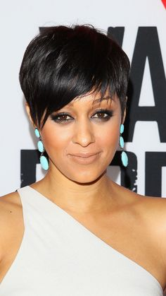 Tia Mowry's sleek look really brings out her eyes, says Mitchell. If you have a short cut, simply use a flatiron to straighten hair and add pomade for smoothness. - Redbook.com