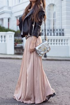 Long Skirt and Leather Jacket
