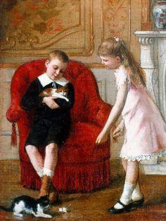 Albert Roosenboom (Belgian, 1845-1875) - Playing with the kittens, 1886