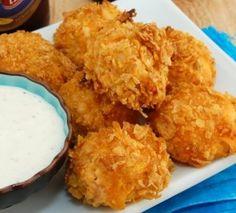 Baked (not fried!) Buffalo Chicken Bites - here's a healthy alternative to boneless buffalo wings.