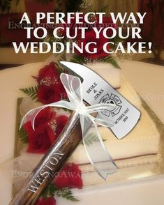 Engraved Wedding Axes for Cake Cutting - perfect for firefighters! Going to do this! Well someday maybe Firefighter Wedding Cakes, Fireman Wedding, Firefighter Decor, Lumberjack Wedding, Firefighter Quotes, Volunteer Firefighter, Firefighter Cross, Flannel Wedding, Firefighter Family