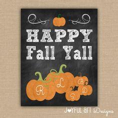 Pumpkin Family Chalkboard PRINTABLE Sign. Happy Fall Y'all. Customized Fall Decor. Family Name Wall Art. Fall Seasonal Sign. DIGITAL file.