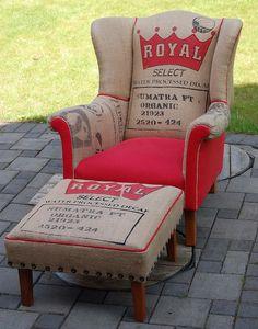 Coffee sack armchair - ultimate make do and made!