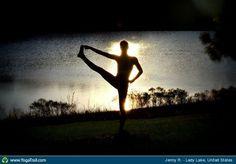 """Yoga Poses Around the World: """"In Utthita Hasta Padangusthasana at sunset!"""""""