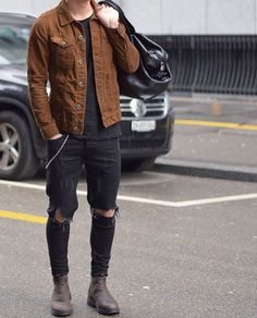 Men's black denim and brown jacket