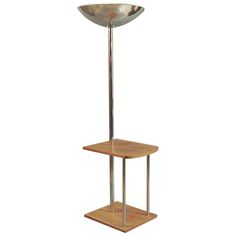 French Art Deco/Moderne Torchiere Floor Lamp with Table Furniture, Modern Floor Lamps, Contemporary Lamps, Lamp, French Art Deco, Floor Lamp With Shelves, Home Decor, Cool Furniture, Vintage Floor Lamp