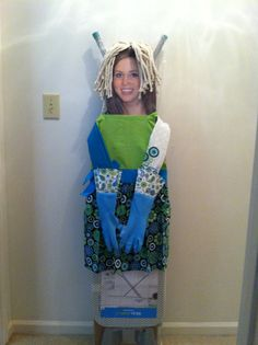 Ironing Board Bride - she has an apron dress, dish towel arms, cleaning glove hands and mop hair. Combine in with an iron for a great shower gift.