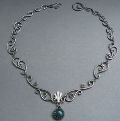 Sterling Silver Filigree Necklace with Moss Agate , Wrought Iron Architecturally Inspired Series