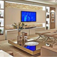 iluminação atrás da tv, leve, com recuo de painel na parede da lareira #sala #living