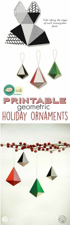Printable Geometric Holiday Ornaments for a modern minimalist tree or traditional! Easy DIY holiday ornaments. Find your free download on TodaysCreativeLIfe.com