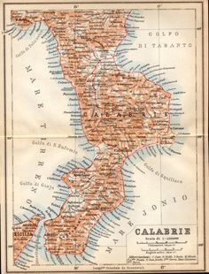 1908 Calabria Italy Antique Map Calabrie Map by Craftissimo, €21.95