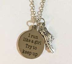 Run Like A Girl Charm Necklace, Running Shoe – Simple Reminders Running Jewelry, Run Like A Girl, Girls Be Like, Engraving Art, Gifts For Runners, Simple Reminders, Dog Tag Necklace, Jewelry Gifts