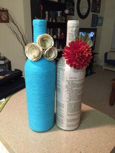 DIY, decoupage, wine bottle wrapped in yarn, book wine bottle, paper flowers, decoupage wine bottle, arts & crafts