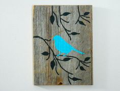 Reclaimed Barnwood, Hand-Painted Wood Wall Art Rustic Art -Turquoise Cottage Chic Decor - Bird on Branch Silhouette Design - Wood Art Barn Wood Signs, Reclaimed Barn Wood, Old Wood, Rustic Wood, Wooden Signs, Rustic Decor, Art Turquoise, Turquoise Cottage, Painted Wood Walls