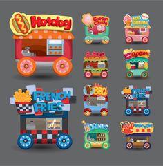 Carritos de comida rápida vectorizados con estilo infantil – Puerto Pixel | Recursos de Diseño                                                                                                                                                                                 Más