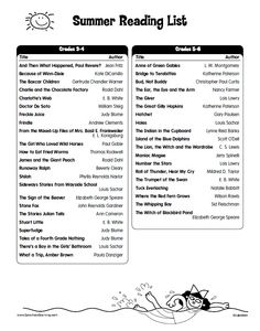 Summer Reading List from Lakeshore for 3rd-4th graders & 5th-6th graders.