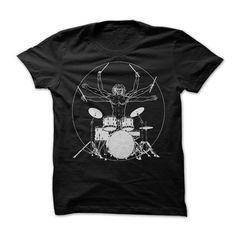 VITRUVIAN DRUMMER MAN T-shirt.Drumming Man T-shirt.Man Drumming Tee.Gift for a drummer.Musical Instruments t-shirt.Drums.Drum Kit.
