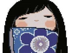 Japanese Kokeshi Girly Doll AZUMI Cross Stitch Pdf Pattern