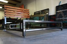 modern steel bed frame
