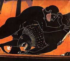 Psiax (fl. c. 525 - 505 BCE), Museo Civico Romano, Bresica (525 BCE; excavated at Vulci, Etruria, Italy). Black-figure amphora. Side A detail: Herakles and the Nemean Lion.