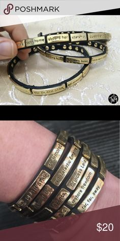 """Star Wars wrap Bracelet Leather wrap bracelet with small gold plaques attached. Each plaque has a little bit of the opening of Star Wars, the whole, """"a long time ago, in a galaxy far far away...."""" excellent condition Jewelry Bracelets"""